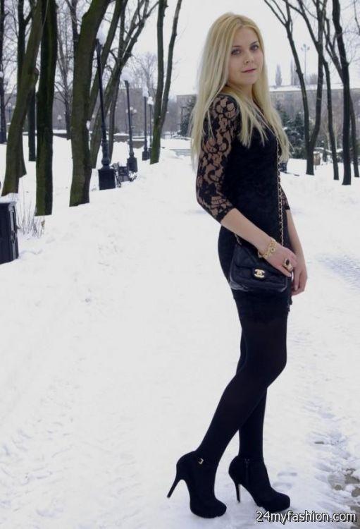 black lace dress with boots 2016-2017 » B2B Fashion