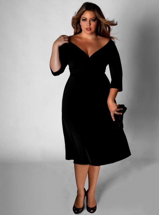 Long Black Dresses With Sleeves Plus Size - Dress Foto and Picture