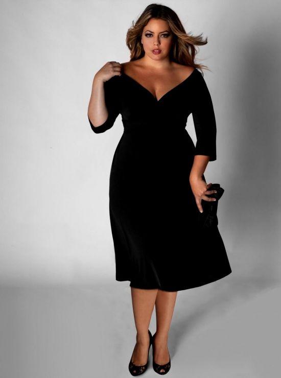 black long sleeve dress plus size looks | B2B Fashion
