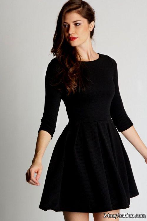 Black Skater Dress With 3 4 Sleeves Looks B2b Fashion