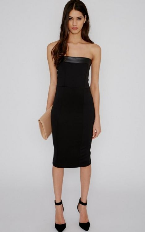 Black Strapless Midi Dress Looks B2b Fashion