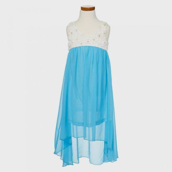 Blue high low prom dresses 2018