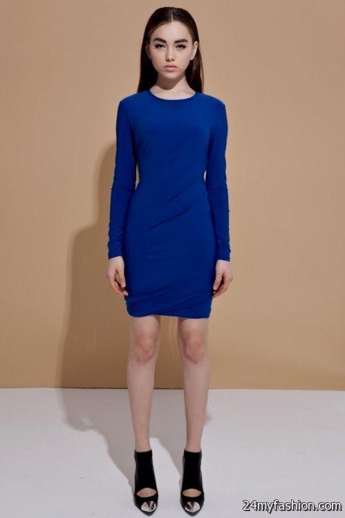 blue long sleeve short dress 2016-2017 » B2B Fashion