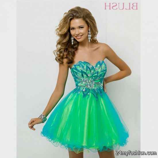 Blue short prom dresses 2014