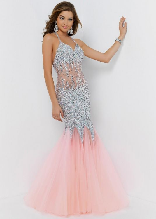 Pink mermaid prom dress 2017