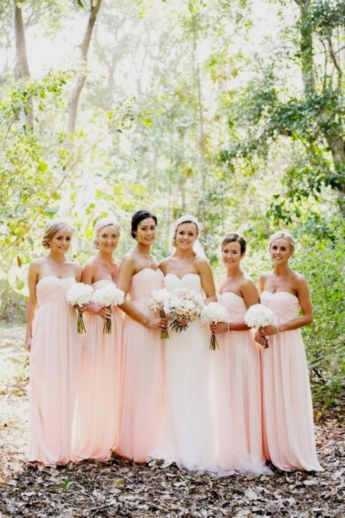 Blush pink and gold bridesmaid dresses wedding dresses asian for Wedding dress shops richmond va