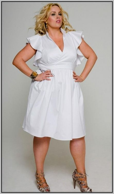Size Plus white casual dresses photos