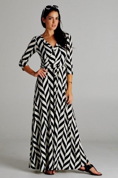 Chevron Maxi Dress with Sleeves