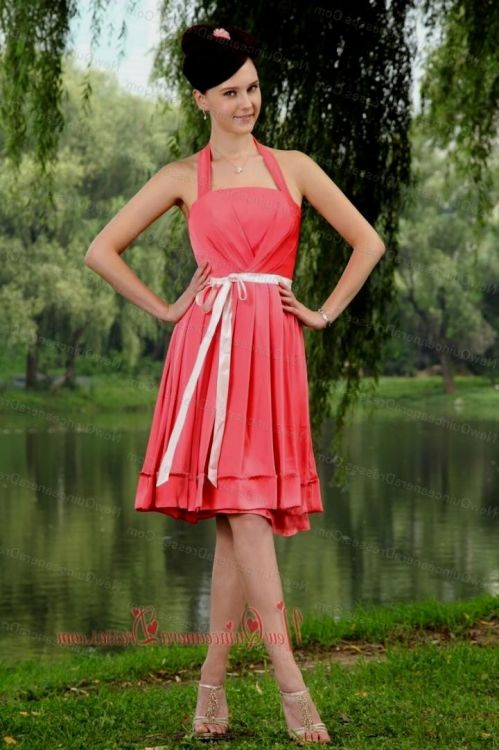 coral knee length summer dress 2016-2017 » B2B Fashion