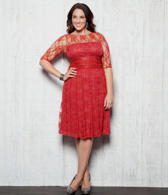Size Red Lace Cocktail Dress