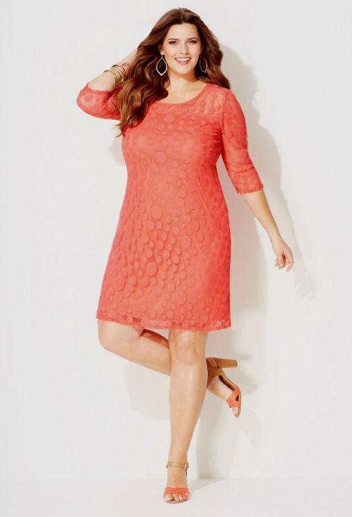 Plus Size Cocktail Dress Coral