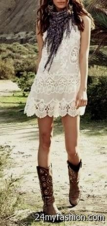cream lace dress with cowboy boots 2016-2017 | B2B Fashion