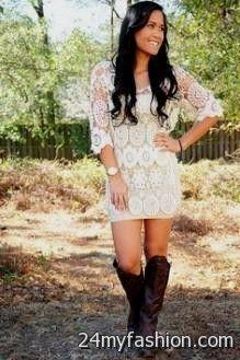 cream lace dress with cowboy boots 2016-2017 » B2B Fashion