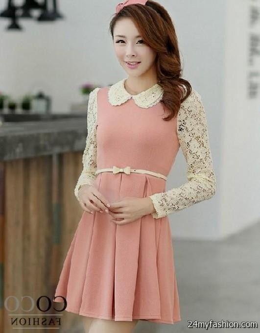 Cute Korean Dresses Pink 2016 2017 B2b Fashion