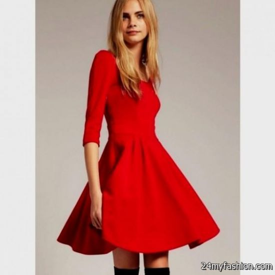 cute red dresses with sleeves 2016-2017 » B2B Fashion