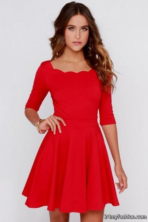 cute red dresses with sleeves 2016-2017 » B2B Fashion