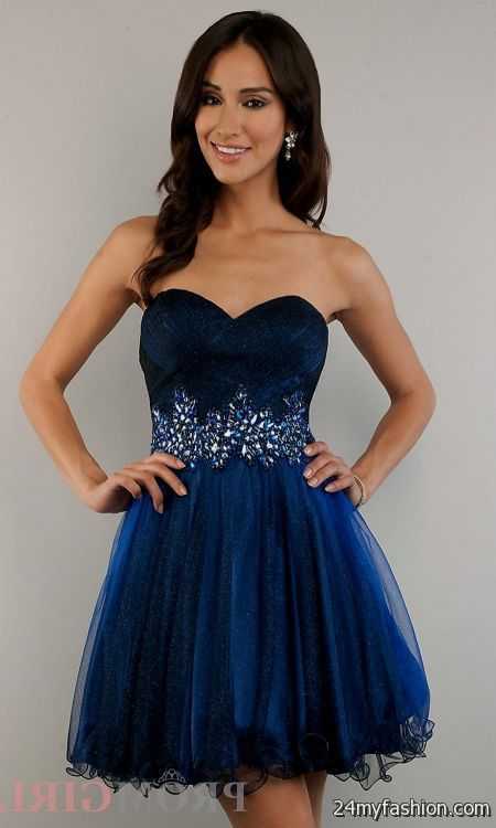 Dark Blue Short Poofy Dresses