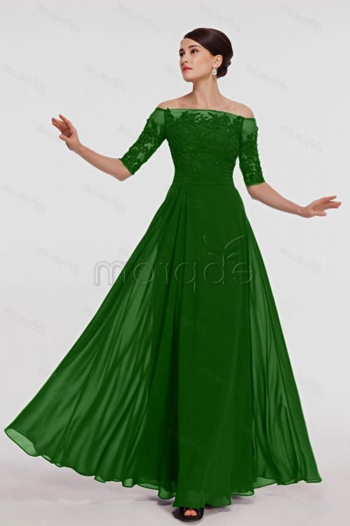 emerald green gown with sleeves 2016-2017 | B2B Fashion