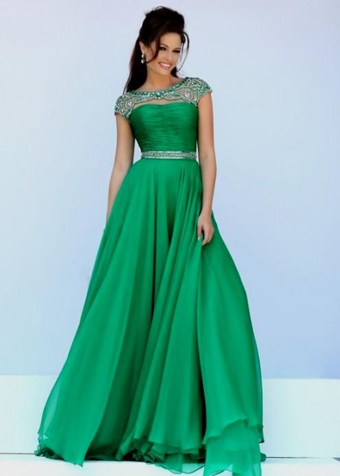 Emerald Green Gown With Sleeves Looks B2b Fashion