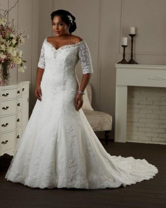 6147d6e2d97 fit and flare wedding dress plus size looks