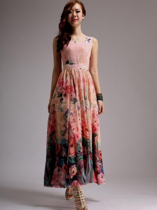 Floral Chiffon Maxi Dress Photo Album - Reikian