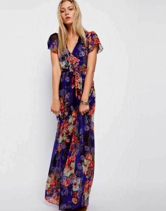 Floral Maxi Dress With Short Sleeves 2016 2017 B2b Fashion