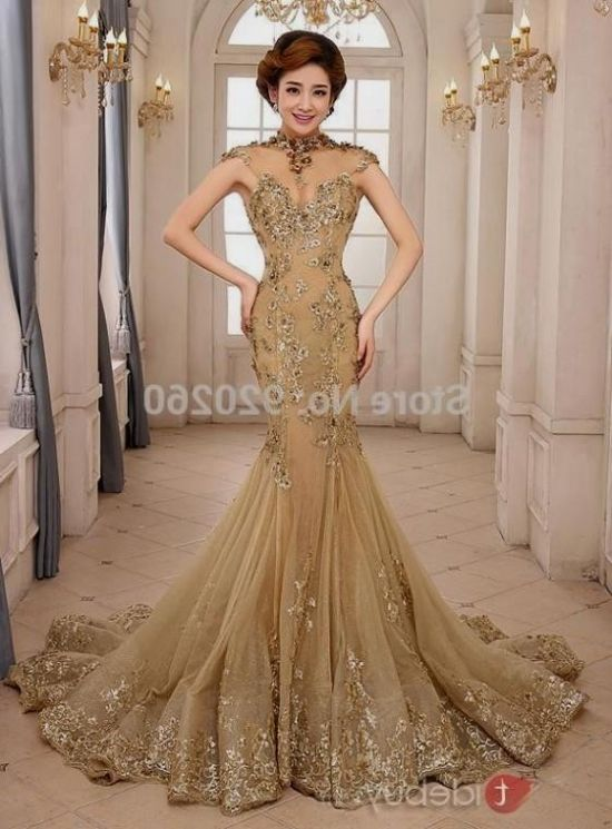 gold mermaid wedding dress 20162017 b2b fashion