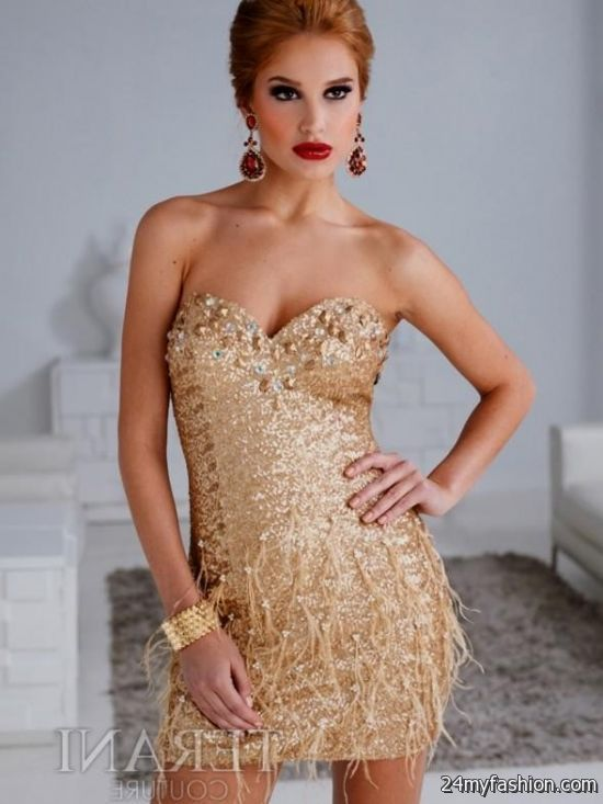 gold sequin cocktail dress 2016-2017   B2B Fashion