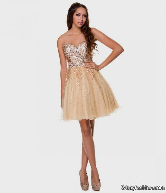 Gold Short Dresses Juniors 2016-2017