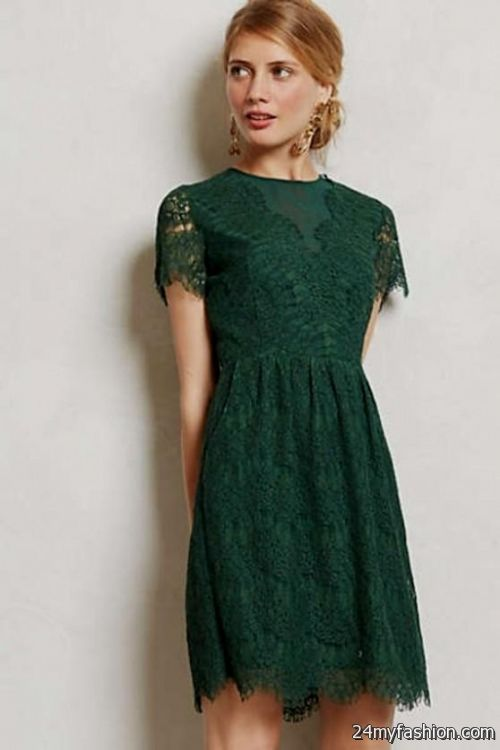 green lace dress with sleeves 2016-2017 » B2B Fashion
