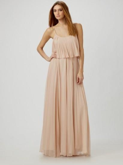 halston heritage blush pleated maxi dress 2016-2017 | B2B Fashion