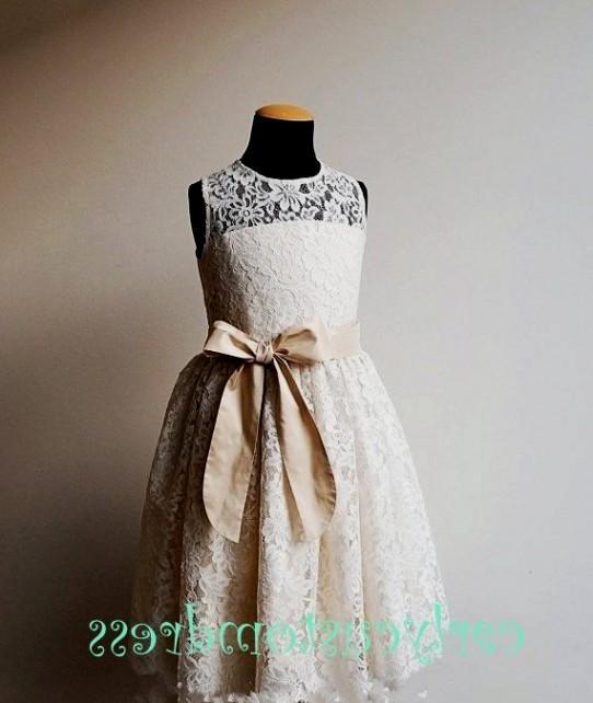 Long ivory lace flowers girls dress
