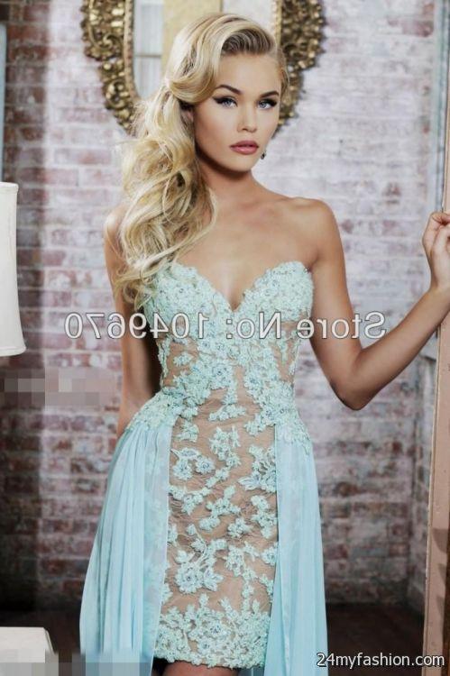 Light blue lace cocktail dress - Dress on sale