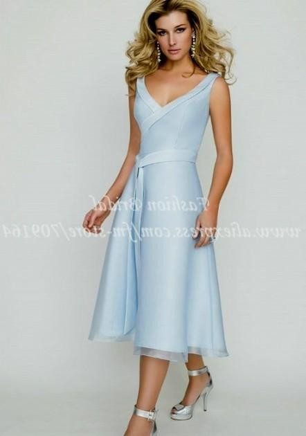 light blue wedding dress tea length 20162017 b2b fashion