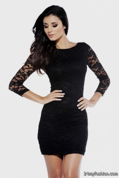 Little Black Dress Lace Sleeves Looks B2b Fashion