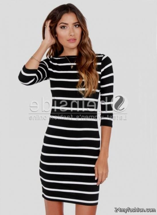 long sleeve black and white striped bodycon dress 2016-2017 » B2B ...