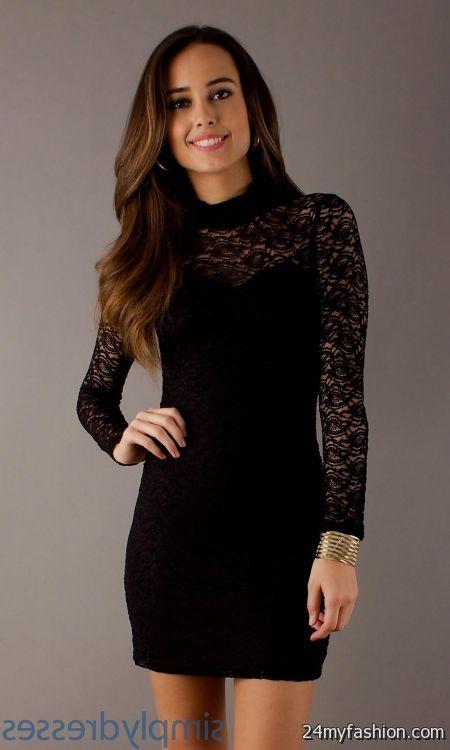 long sleeve black lace cocktail dress 2016-2017 | B2B Fashion