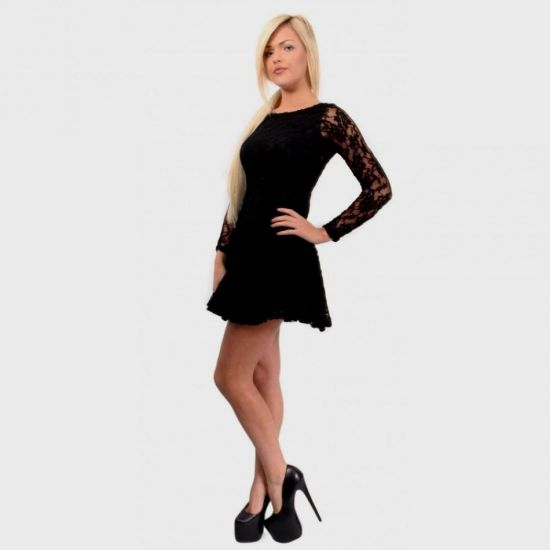 940192e14b7 You can share these long sleeve black lace skater dress on Facebook