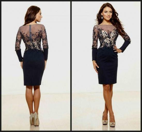 long sleeve knee length cocktail dresses 2016-2017