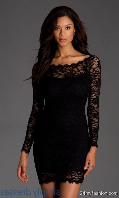 long sleeve short black dress lace looks | B2B Fashion