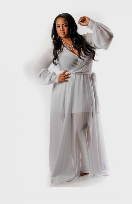 White maxi dresses for plus size