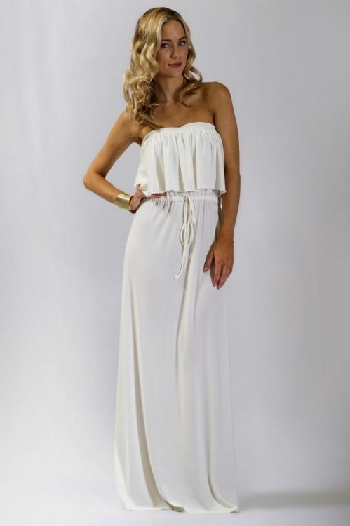 d7de8fd399 You can share these long white strapless maxi dress on Facebook