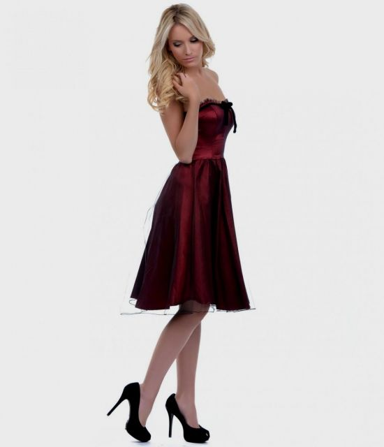 Strapless maroon prom dresses