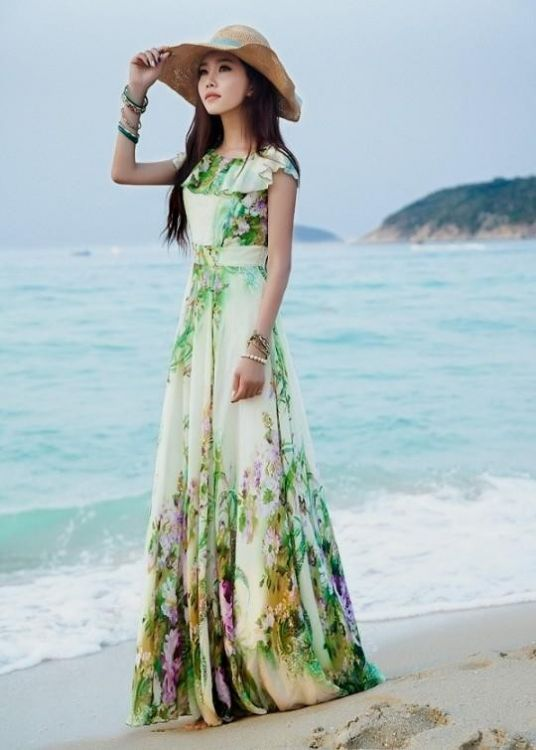 Long summer dress with sleeves