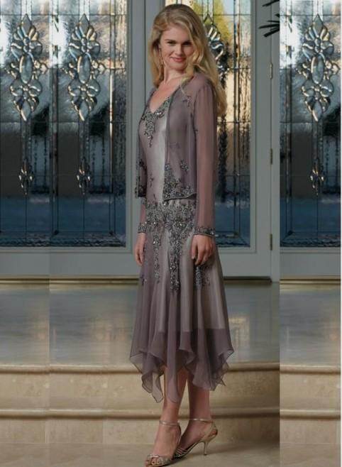 Mother Of The Bride Dresses Tea Length Silver 2016 2017 B2b Fashion