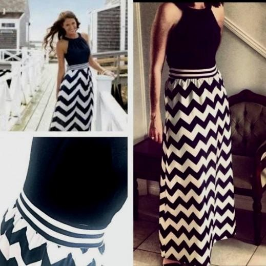 navy blue chevron maxi dress 2016-2017 » B2B Fashion