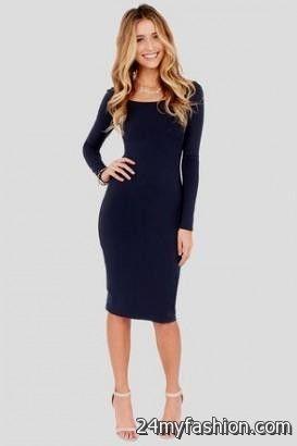 617039ec645e You can share these navy blue long sleeve bodycon dress on Facebook