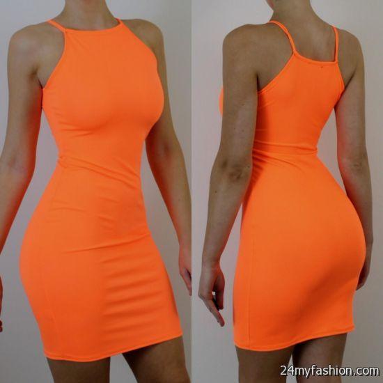 neon orange bodycon dress 2016-2017 » B2B Fashion