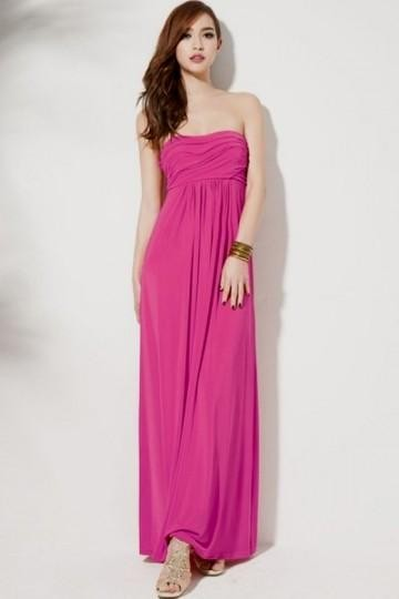 neon pink strapless maxi dress 2016-2017 » B2B Fashion