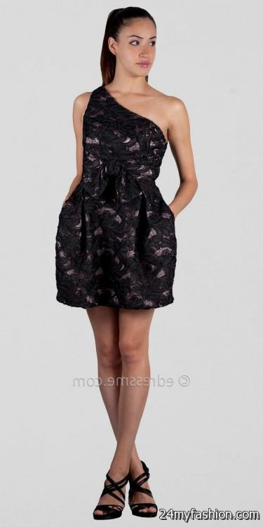 the gallery for gt one shoulder black lace cocktail dress